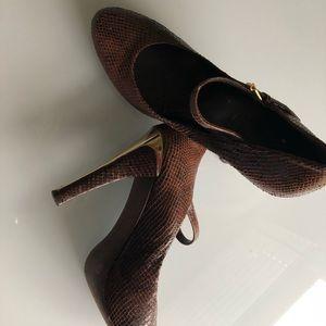 BCBG Brown & Gold Plates Heels